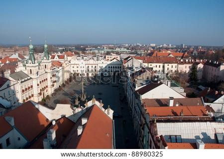 view from the top of pardubice - stock photo
