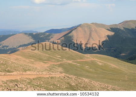 View from the Top of Pike's Peak in Colorado - stock photo