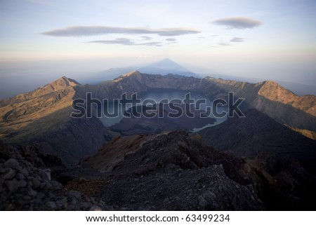 view from the top of Rinjani volcano - stock photo
