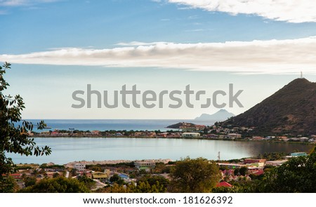 View from the top of the hill on Saint Martin dutch side. - stock photo