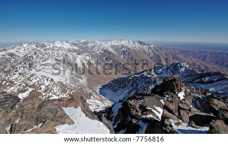 View from the top of the mt Toubkal. Highest mountain in the North Africa. Morocco. High-Atlas. - stock photo