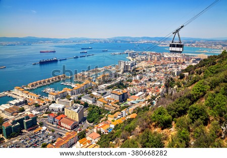 View from the top of the rock of Gibraltar on the city.  - stock photo