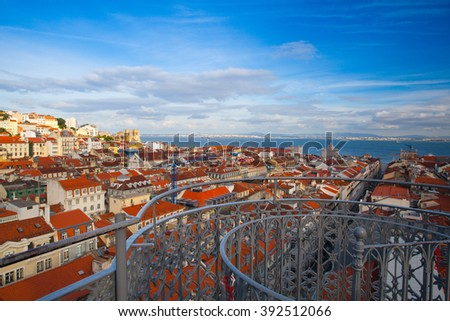 View from the top of the Santa Justa elevator on Lisbon city.,Portugal - stock photo