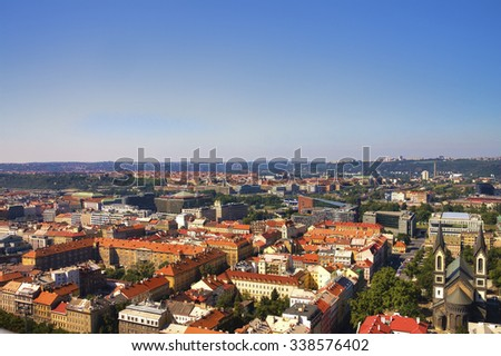 View from the top of the Vitkov Memorial on the Prague landscape on a sunny day