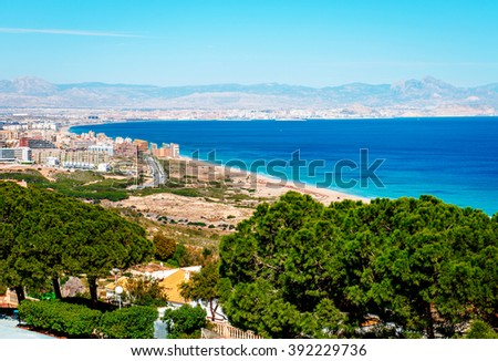 View from the top to the Alicante coastline. Costa Blanca. Spain - stock photo