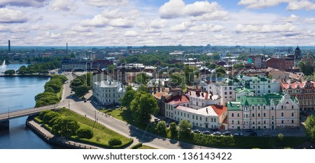 View from the Tower of Olaf the old town of Vyborg, Russia.