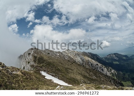 View from the trails in Piatra Craiului mountains, Transylvania, Romania during summer time. - stock photo