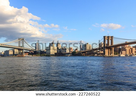 View from the Two Bridges neighborhood in the Lower East Side of Manhattan towards Brooklyn in New York, NY, USA. - stock photo