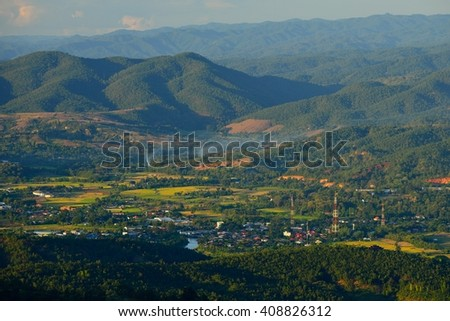 View from the viewpoint of northern village of thailand