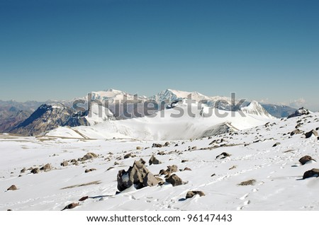 View from the West face of Aconcagua mountain. Aconcagua Provincial Park, Mendoza, Argentina, South America. - stock photo