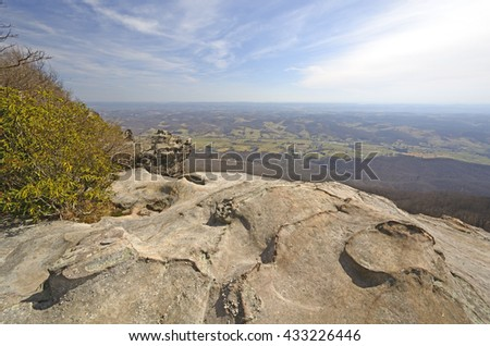 View from the Whites Rocks on a Sunny Day in Cumberland Gap National Park in Virginia - stock photo