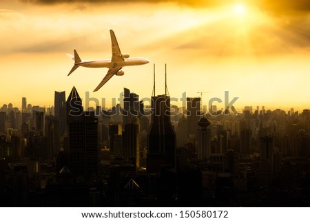view from the window of airplane.shanghai lujiazui financial center aside the huangpu river. - stock photo