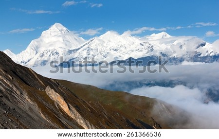 view from Thorung la pass Annapurna himal to Mount Dhaulagiri - Dhaulagiri himal - Nepal - stock photo