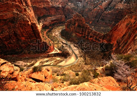 View from top of Angels Landing, Zion National Park, Utah - stock photo