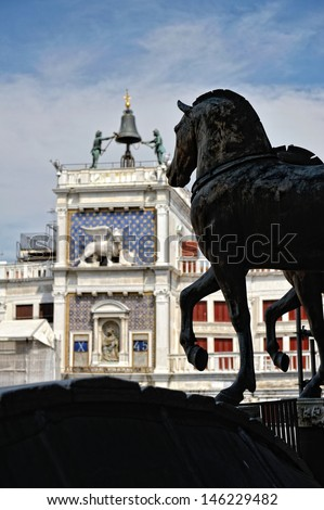 View from top of St. Mark's cathedral. Statues of horses. - stock photo