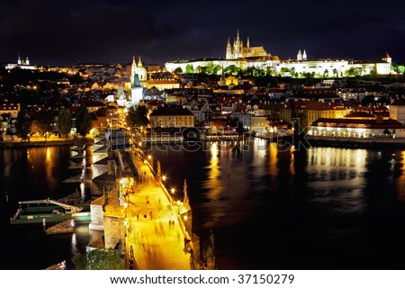 View from Tower on Charles Bridge- night  Prague and old  Prague Castle.  Czech  Republic. - stock photo