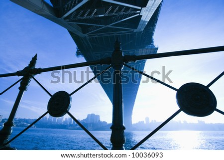 View from underneath Sydney Harbour Bridge in Australia at dusk with harbor and city skyline visible. - stock photo