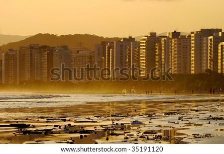 view from urban beach on a beautiful summer day in santos, brazil