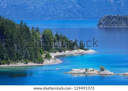 View from Victoria Island on Lake Nahuel Huapi - stock photo