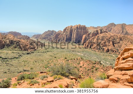 View from West Canyon Overlook on the Lava Flow Trail, in Snow Canyon State Park, Utah. - stock photo