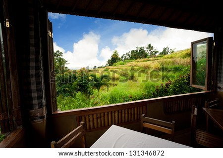view from window at a wonderful rice terraces. Bali, Indonesia - stock photo