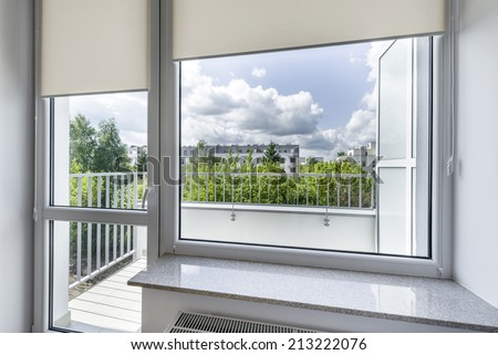 View from window in small, economic room - stock photo