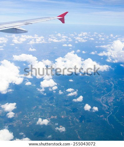 View from Window Skies above and below  - stock photo