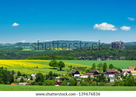 View from Wolfenberg to Schramstein and Elbe river, Saxon Switzerland - stock photo