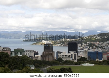 View From Wrights Hill, Wellington, New Zealand - stock photo