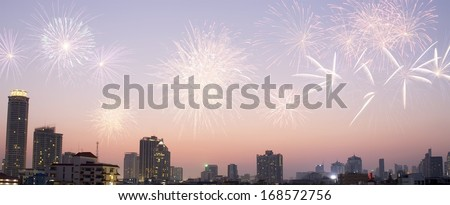 view in bangkok city at the twilight and fireworks - stock photo
