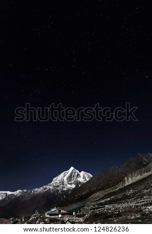 View in Moonlight from Chhukhung of Tabuche (6495 m)  at night - Everest region, Nepal, Himalayas - stock photo