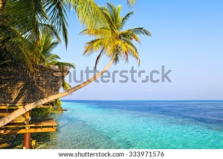 View in tropical hotel Ranveli, Maldives, The Indian Ocean - stock photo