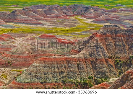 view into the Badlands national park in south dakota - stock photo