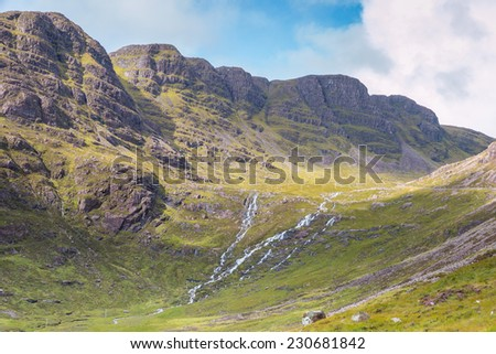 View into the Highlands and over the plains next to Loch Kishorn, Scotland - stock photo