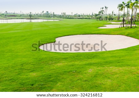 view landscape of golf course at Thailand - stock photo