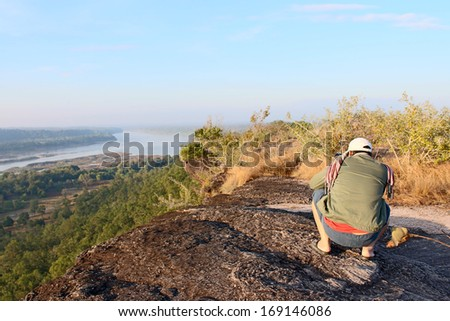 View lanscape of Pha Taem National Park in the Ubon Ratchathani , Thailand - stock photo