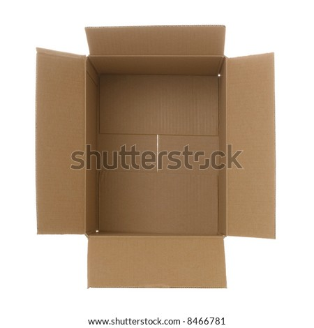 View looking down into a brown cardboard box. Isolated on white. - stock photo