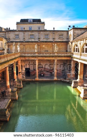 View looking down over the ancient Roman Baths in Bath England which are fed by natural springs.