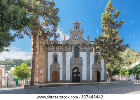 view Main facade of the basilica of Our Lady of pine in Teror, Gran Canaria, Spain