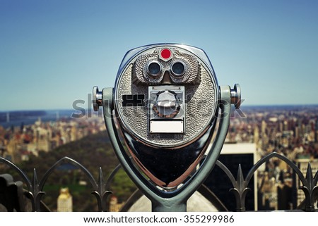 View master binoculars looking out on Istanbul skyline
