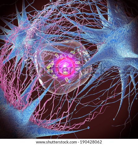 View Microscopic Virus And Cells - stock photo
