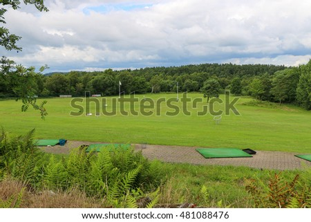 View nature landscape of beautiful golf course.