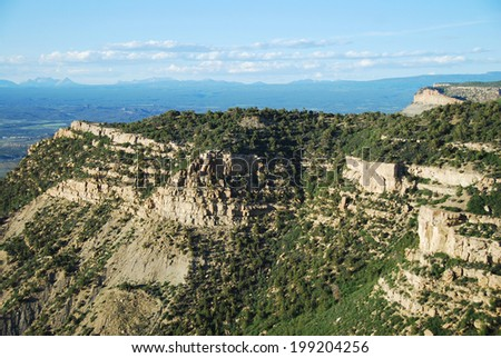 View north from Geologic Overlook to the San Juan Mountains in Mesa Verde National Park, CO, USA. Mesa Verde was inhabited by the Ancestral Pueblo people from AD 600 to 1300. - stock photo