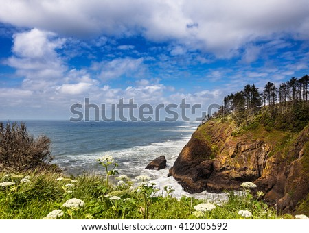 View northward over Long Beach from the North Head Light, Cape Disappointment State Park, Washington - stock photo