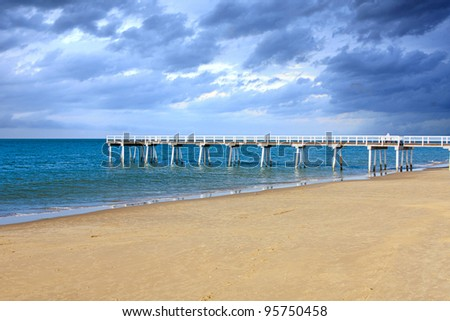 view o jetty from the beach at Hervey Bay Australia