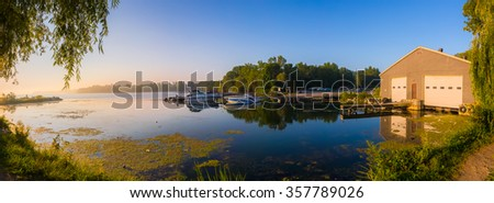 View of a beach at a Provincial Park in Ontario Canada during sunrise - stock photo
