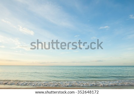 view of a beach before sunset in Thailand. - stock photo