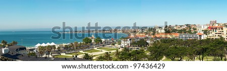 View of a beach in the touristic village of Cascais, Portugal - stock photo