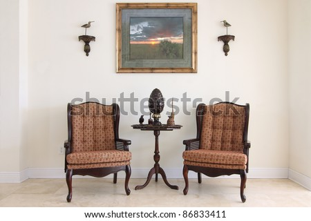 View of a beautiful formal classic sitting room - stock photo