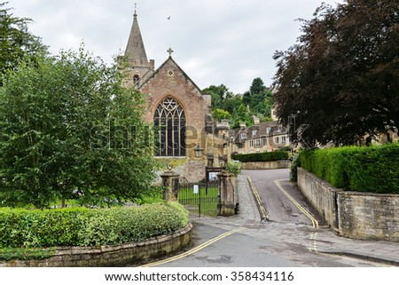 View of a Beautiful Street and Church in an English Town - Namely the Historic Bradford on Avon in Wiltshire England - stock photo